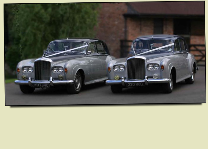 Bentley S3 Georgian Silver over Royal Blue Wedding and Prom Car Hire in Kidderminster, Worcester & Birmingham